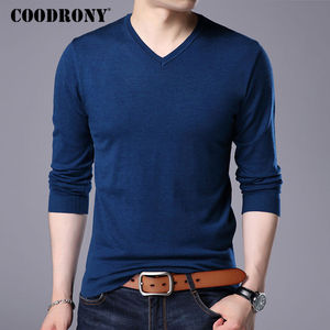 Image 4 - COODRONY Cashmere Sweater Men Brand Clothing 2017 Autumn Winter Thick Warm Wool Sweaters Solid Color V Neck Pullover Shirts 7153