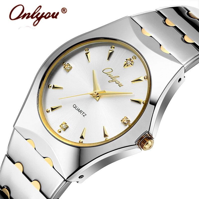 Wrist Watches For Women Men Lovers Watches Quartz Rhinestones Gold Stainless Steel Ladies Watch Relogio Feminino Clock Gift 8677 mance women men unisex watches gold stainless steel quartz wrist watch skull pirate quality relogio time clock 2016 hot sale