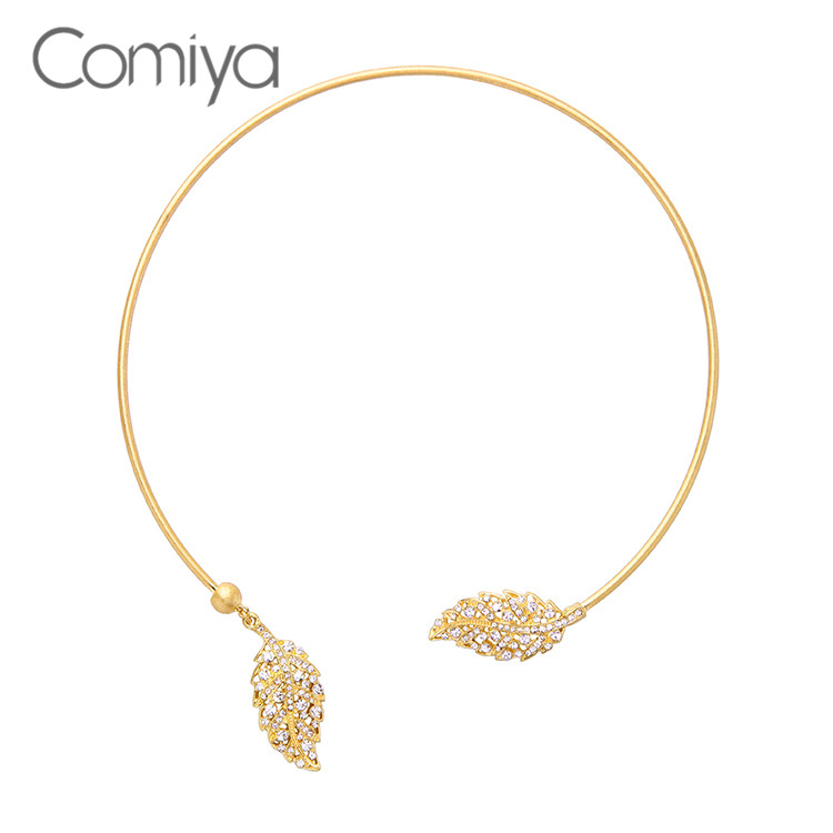 eae5345d75d8 Comiya mejores amigos mujeres Parfum Perfume moda Boho cobre hojas mujeres  Torque collar joyería India collar lindo
