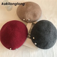 Kukilonglong 2017 Winter Warm Berets For Women Ladies Solid Color Woolen Caps Good Quality Hats Gorras