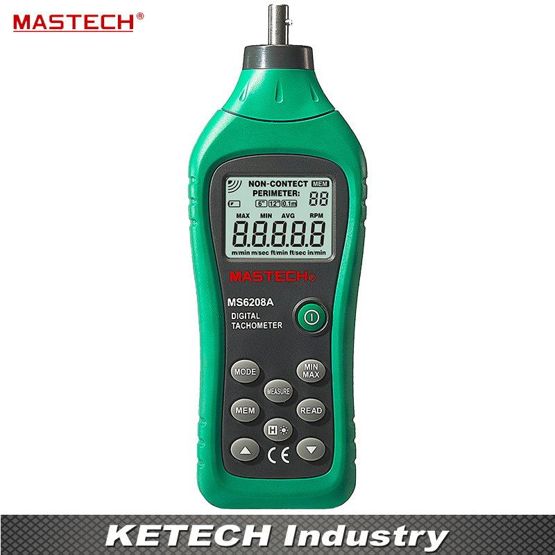 MASTECH MS6208A Contact-type Digital Tachometer RPM Meter with Backlit and Rotation Speed of 50-19999RPM uni t ut372 non contact tachometer with measuring range 10 to 99 999 rpm