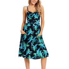 Tropical Plants Print Casual Dress For Women Summer Clothes Long Backless Plus Size Dresses Sexy Beach Clothing