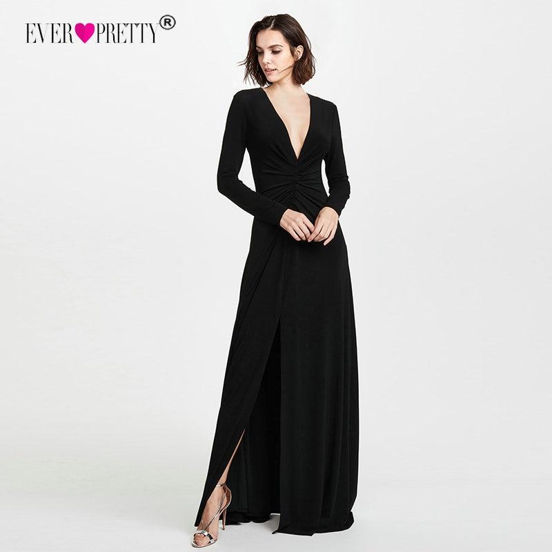 Элегантные черные вечерние платья с длинными рукавами Ever Pretty EZ07735 дешевые вечерние платья больших размеров с v-образным вырезом