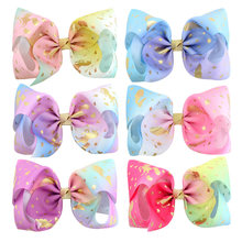 Mermaid Unicorn Print Jumbo Jo jo Bows 6 PCS 8 inch Huge Hand-Made Hair Bows For Thick Hair Women Hair Accessories For Teens(China)
