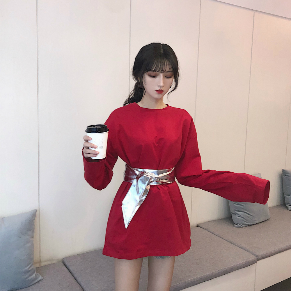 women summer elegant cotton solid plus size long blouse female pullover basic shirt with belt long sleeve tunic round neck tops 3