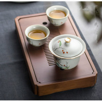 Bamboo tea tray tea table water pallet rectangle bamboo tray Small saucer japanese style household dry