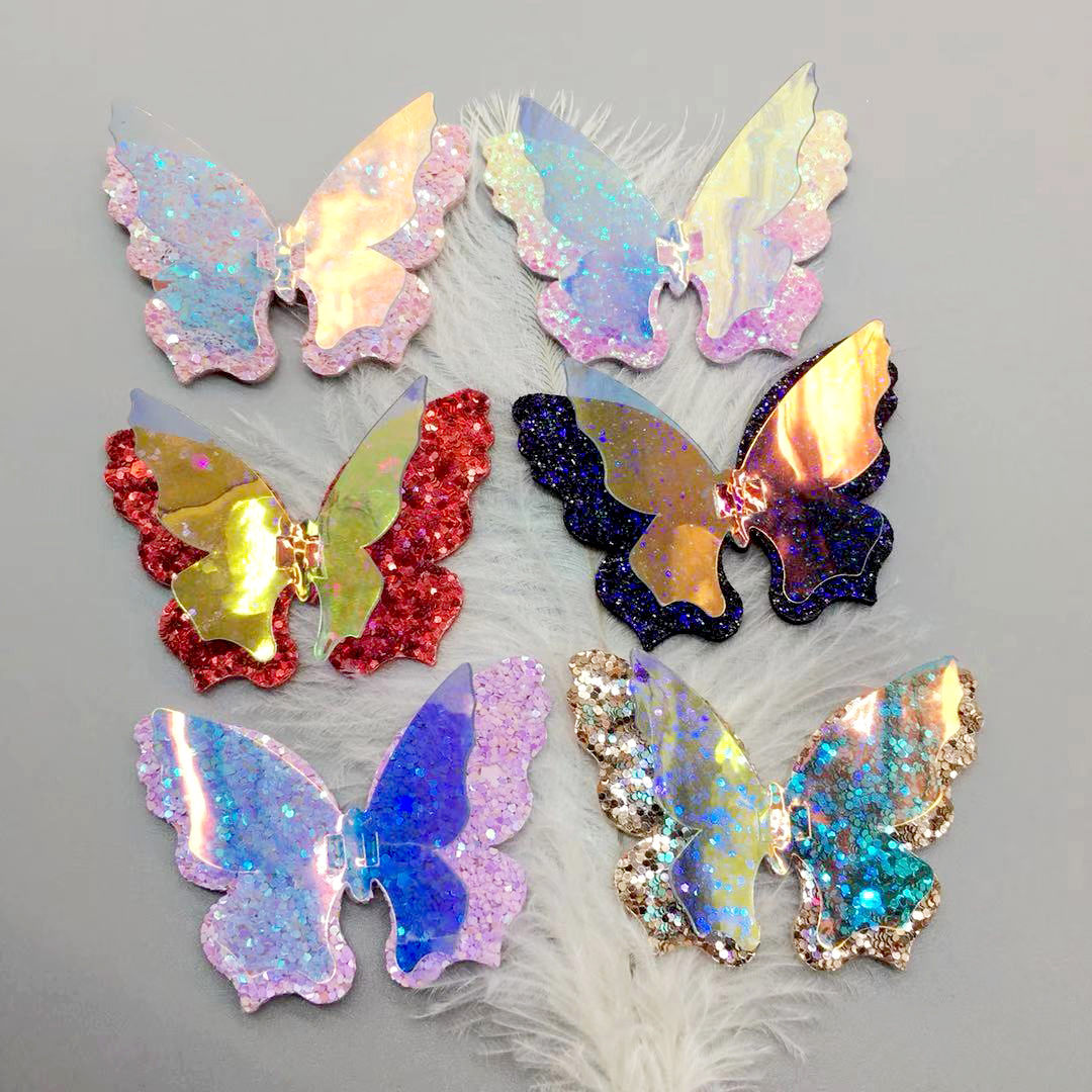 12pcs/lot Cute Double Layer Hair Bows Clips Standing Laser Butterfly Hairpins Glitter Fabric Hairgrips Princess Dance Headwear