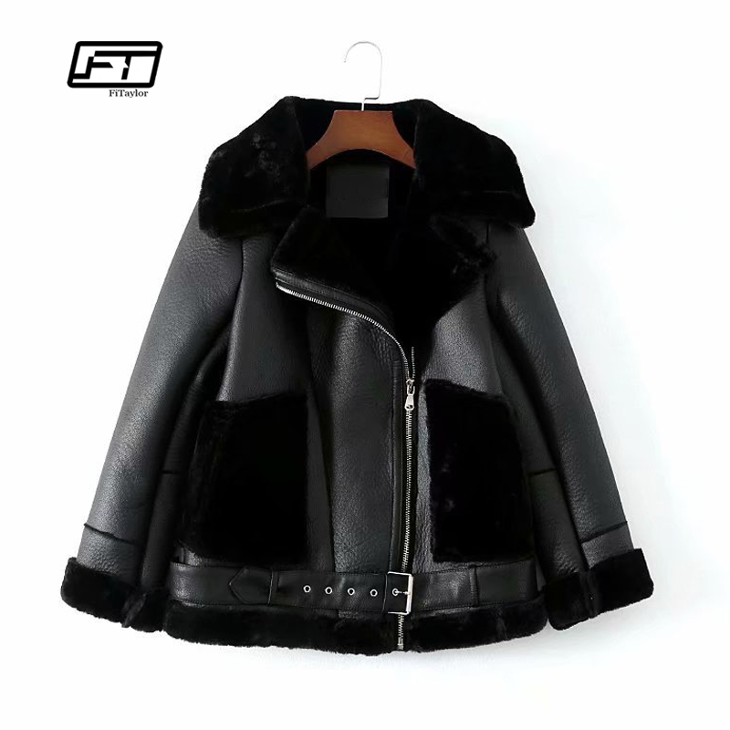 Fitaylor Women Warm Faux Soft   Leather   Lambs Wool Jacket Coats Bomber Motorcycle Punk Fur Jackets Female Loose Casual Outerwear