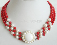 W&O655 3 Rows Genuine Red Coral White Pearl Sun Flower Pendant 18KWGP Clasp Necklace (C0309)