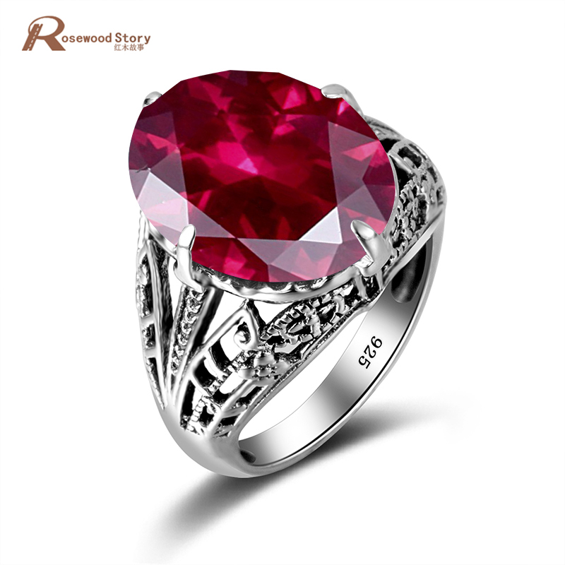 Princess Diana William Created Ruby Engagement Rings Real 925 Sterling Silver Cocktail Ring For Women Party Jewelry Fashion