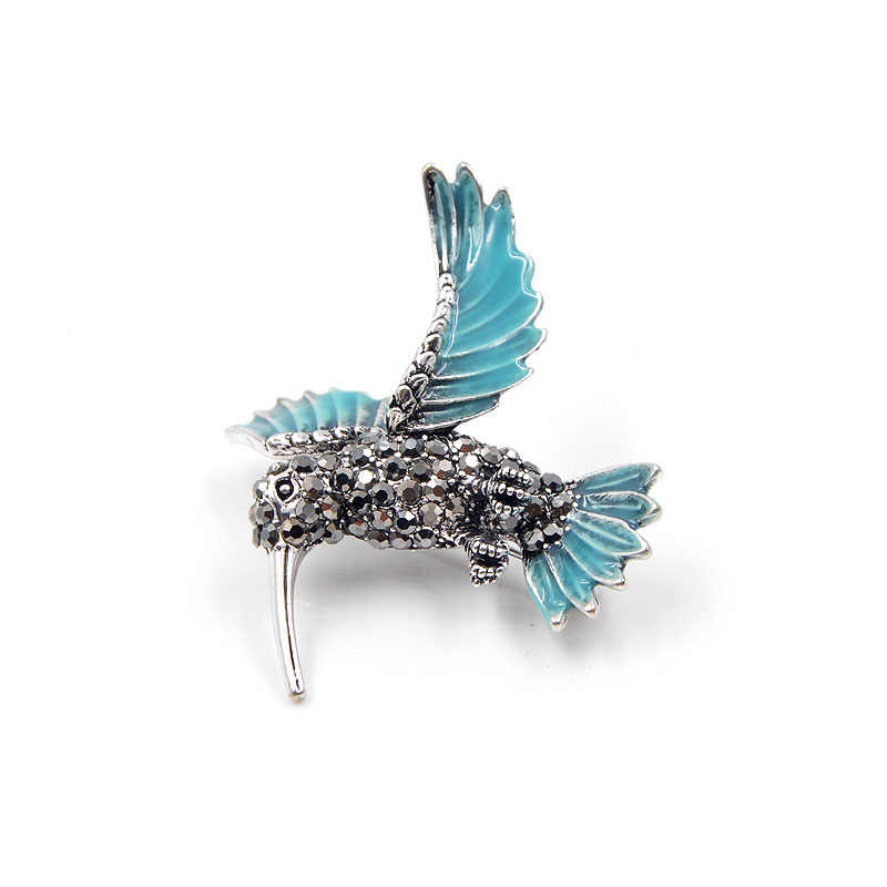 CINDY XIANG New Arrival Rhinestone Hummingbird Brooches for Women Cute Blue Bird Brooch Pin Animal Jewelry Winter Coat Ornament