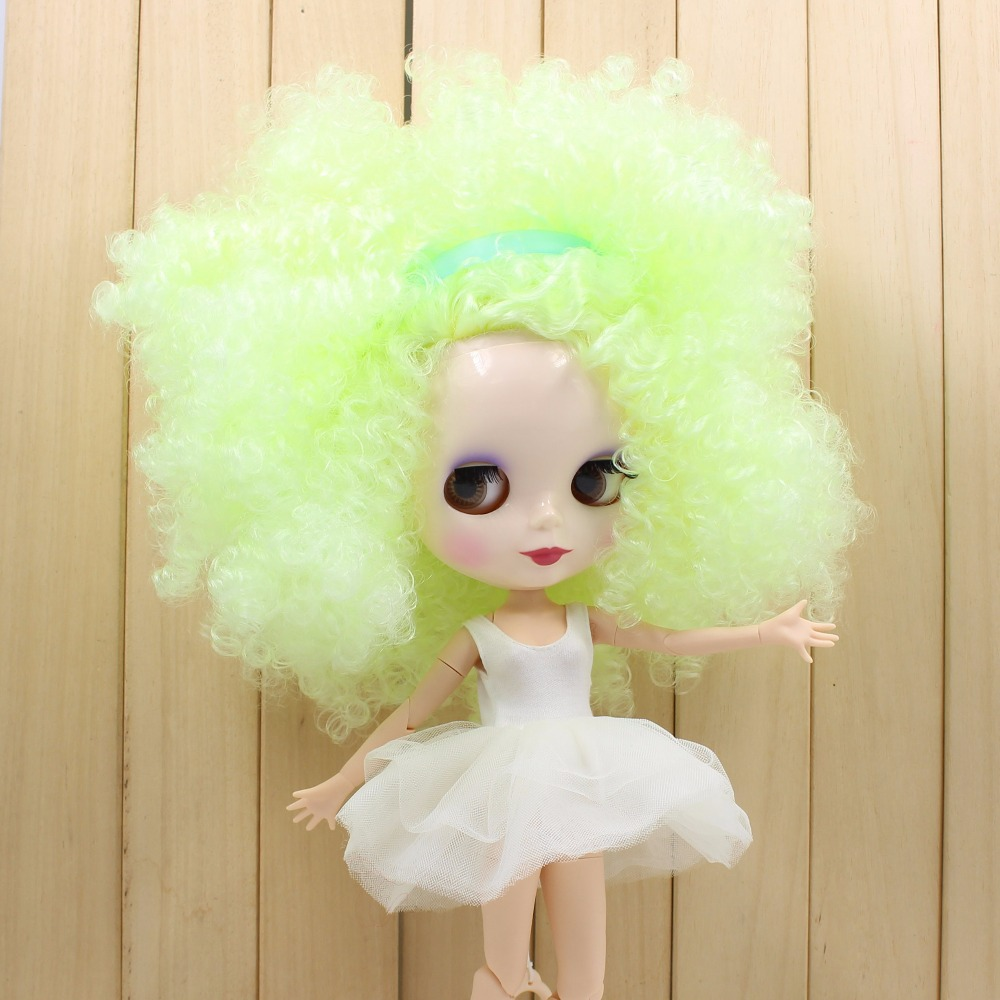 Free shipping factory Blyth Doll BL400 Fluorescent green curly hair joint body 1/6 toy gift цена и фото