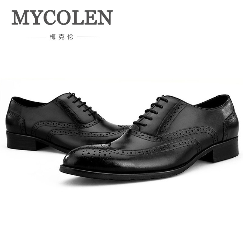 MYCOLEN New Arrivals Pointed Toe Men Dress Shoes Genuine Leather Business Formal Oxford Wedding Shoes Chaussures Homme new arrival men s oxford shoes italian design embossed leather pointed toe stone pattern decoration business men dress shoes