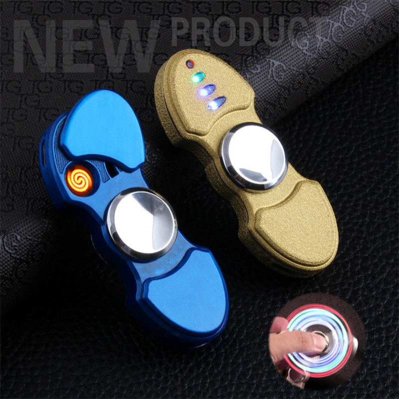 Hand Spinner USB Rechargeable Lighter Windproof Flameless Cigarette font b Electronic b font Lighter Plasma ARC