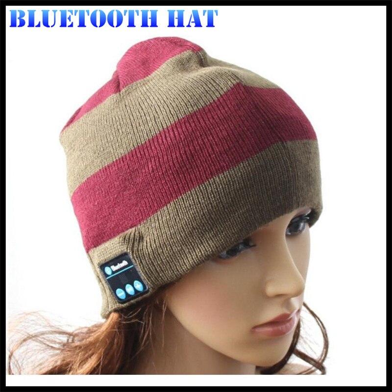 Беспроводной Bluetooth V4.2 Beanie для мальчиков и девочек, мужчин и женщин, вязаная зимняя шапка для наушников, ручной Mp3 микрофон, волшебная музыка, умная шапка+ подарочная коробка - Цвет: Green Wine Striped