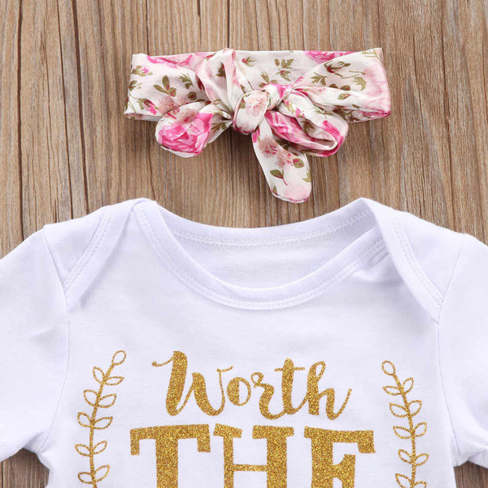 2018 Yenidoğan Bebek Kız Giysileri Tulum Çiçek Değer Bekleme Tatlı Şort Romper Pantolon + Kafa Bandı Kıyafet Yaz Seti Giysileri 0 -24M