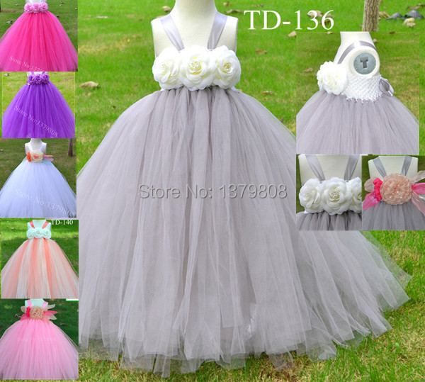 Free Shipping Handmade White Crocher Tank Top Gray Tulle Flower Tutu Dress With Corsage