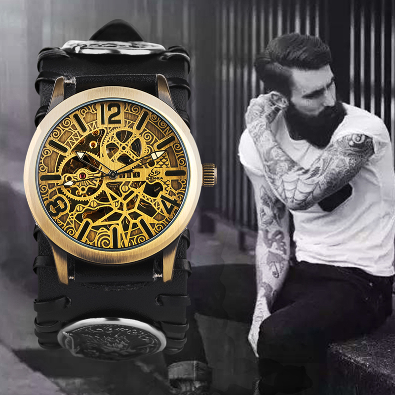 2019 Fashion Steampunk Men Watches SHENHUA Vintage Bronze Automatic Mechanical Watches Men Retro Skeleton Watches Leather2019 Fashion Steampunk Men Watches SHENHUA Vintage Bronze Automatic Mechanical Watches Men Retro Skeleton Watches Leather