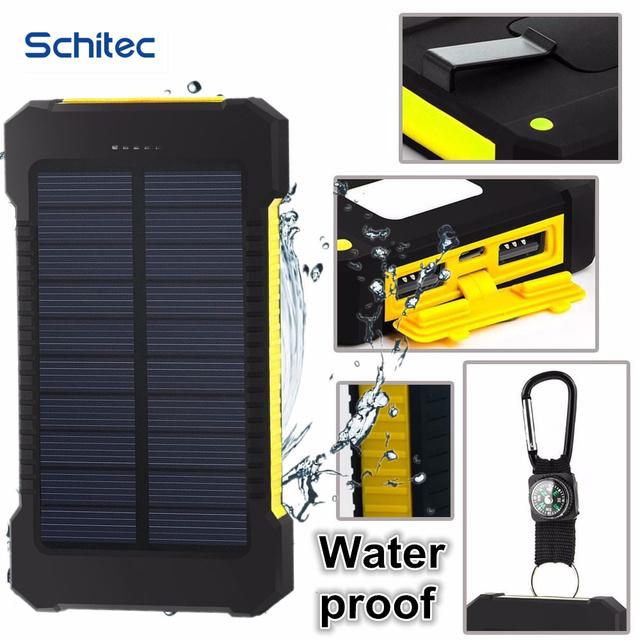 20000 mAh Banco de Potencia Dual USB Banco de la Energía Solar baterry powerbank externo Portátil Panel Solar con Brújula a prueba de agua LLEVÓ la luz