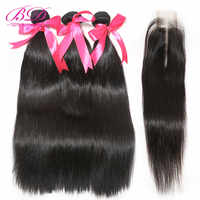 BD HAIR Malaysian Straight Human Hair Bundles with Closure 2X6 Lace Closure with Hair Bundles Remy Hair Weave Bundles
