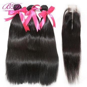 BD HAIR Malaysian Straight Human Hair Bundles with Closure 2X6 Lace Closure with Hair Bundles Remy Hair Weave Bundles