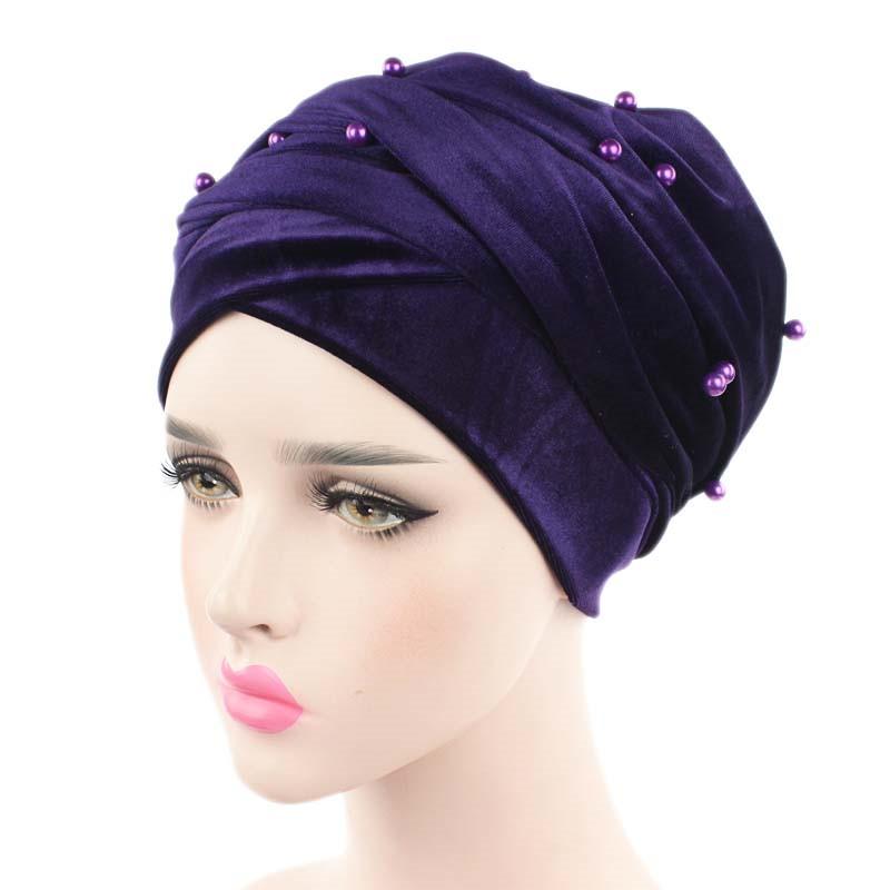 New luxury beaded pearled velvet turban long head scarf headwrap women muslim hijab Bandanas Hair Accessories 25