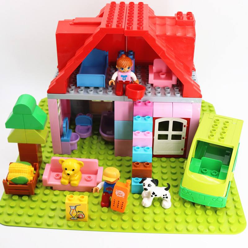 DIY Fashion Family House Furniture Duploe Animals Duploed Toys For Children Blocks Building DIY Bricks Parts Gift