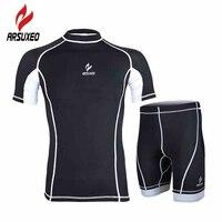 Arsuxeo mężczyźni kompresja bazy warstwy siłownia kulturystyka trening fitness outdoor sport bieganie jogging garnitur rajstopy jersey shorts set