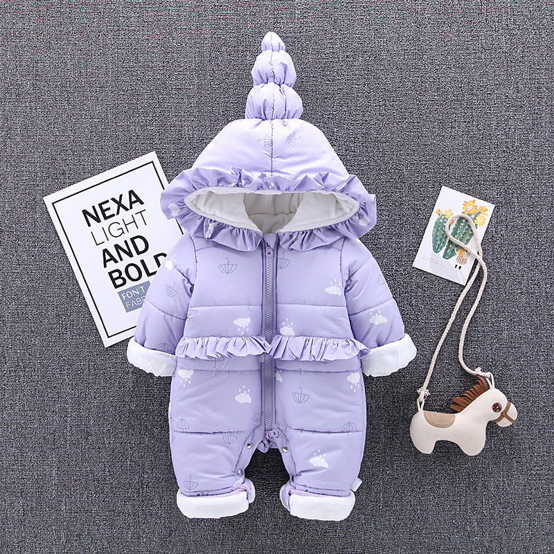Winter Baby Clothes Baby Girl Romper Warm Thick Newborn Clothing Kids Jumpsuit Overalls Girls Cotton One Piece Infant Clothing цена 2017
