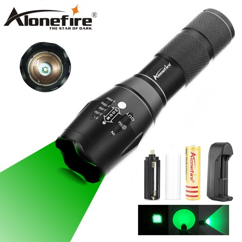 AloneFire E17 Green Light 300 Yards Spotlight Flood Light Zoomable Tactical Hunting Flashlight Torch