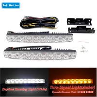 2X9 LEDs Dynamic Streamer Flash Daytime Running Light Strip Turn Signal Warning Steering Brake Car Styling