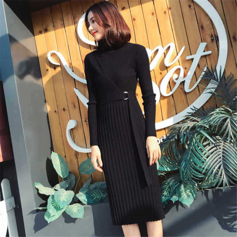 13c380e2222e ... Han edition New high collar Woman Dress Spring autumn knitting Women  Dress Fashion temperament Pure color ...