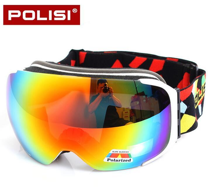 POLISI Men Women Snowboard Snowmobile Goggles Skiing Skate Snow Glasses UV400 Replaceable 2 Lenses Anti-Fog Protective Eyewear