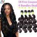 Unprocessed Grade 6A Newness Factory Supplier 4Pcs/Lot Brazilian Virgin Hair Body Wave Human Hair Weave Bundles Hair Extensions