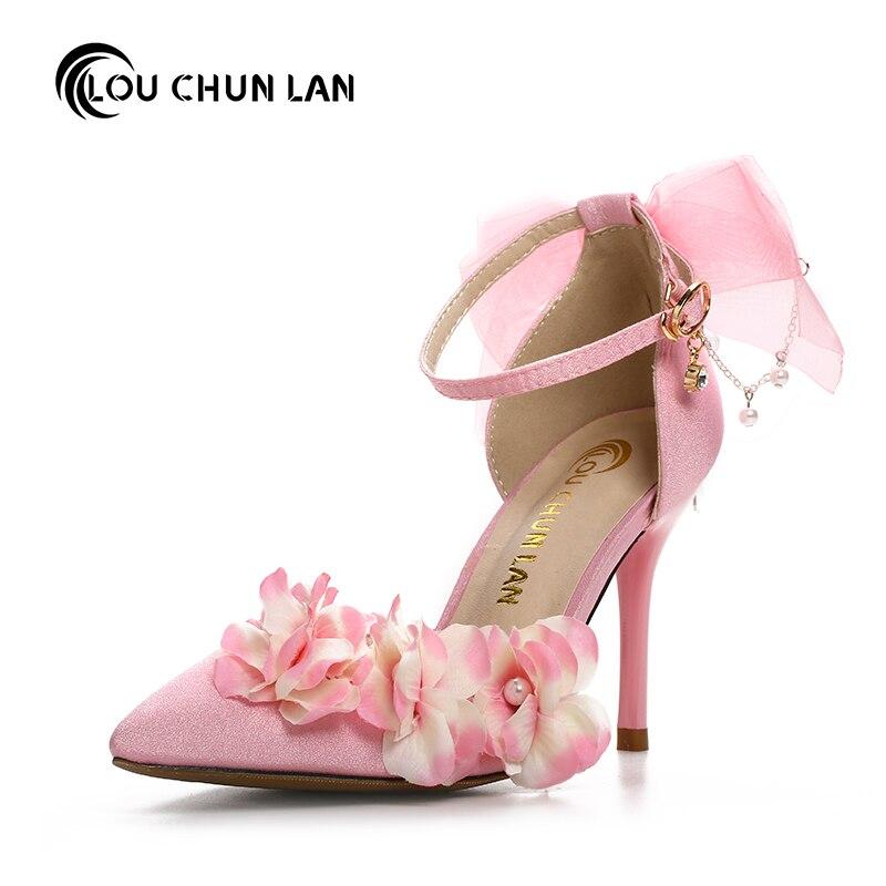 Pink High Heels For Wedding: LOUCHUNLAN Fashion Pink Flower Bridal Shoes Ultra High