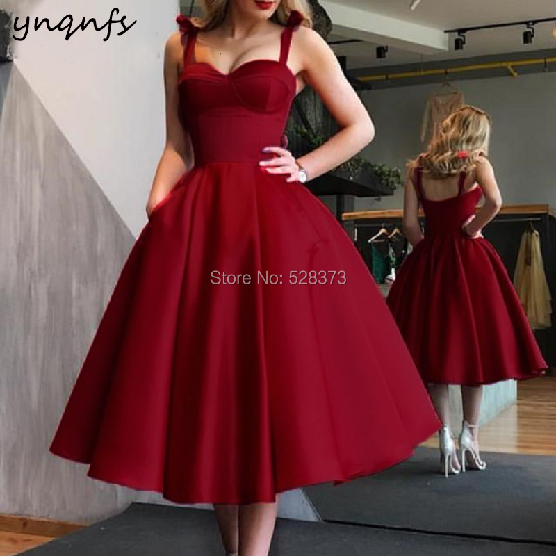 YNQNFS CD85 Vintage 50s 60s Vestidos Mujer 2018 Robe Tea Length Burgundy   Bridesmaid     Dresses   Ball Gown Party 2019