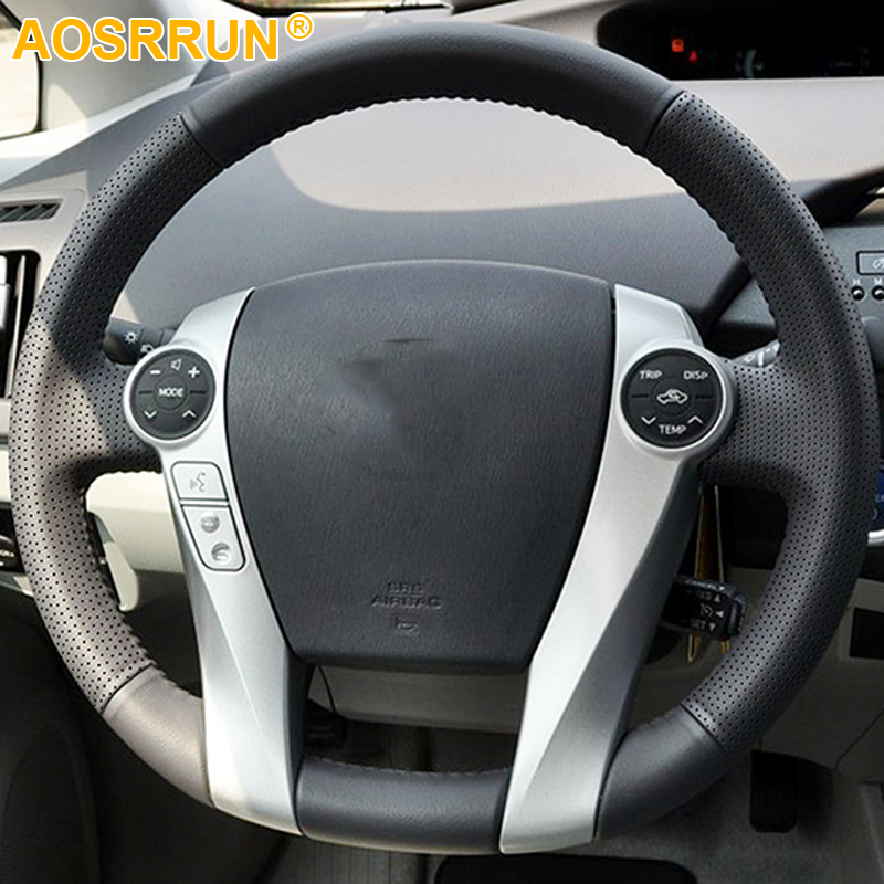 AOSRRUN Car accessories Hand-stitched Leather Car Steering Wheel Cover for Toyota Prius 2009-2015 Aqua 2014 2015