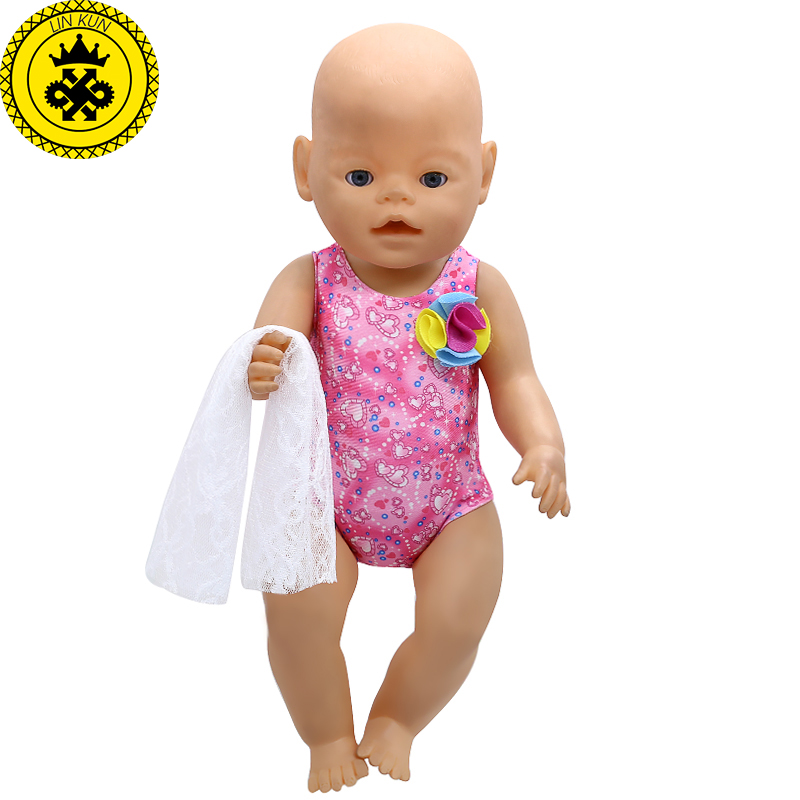 LIN KUN Baby Doll Clothes Cute Red Swimsuit Bikini + Scarf Suit Fit 43cm Babies Born Doll 16-18 Inch Doll Accessories  T7