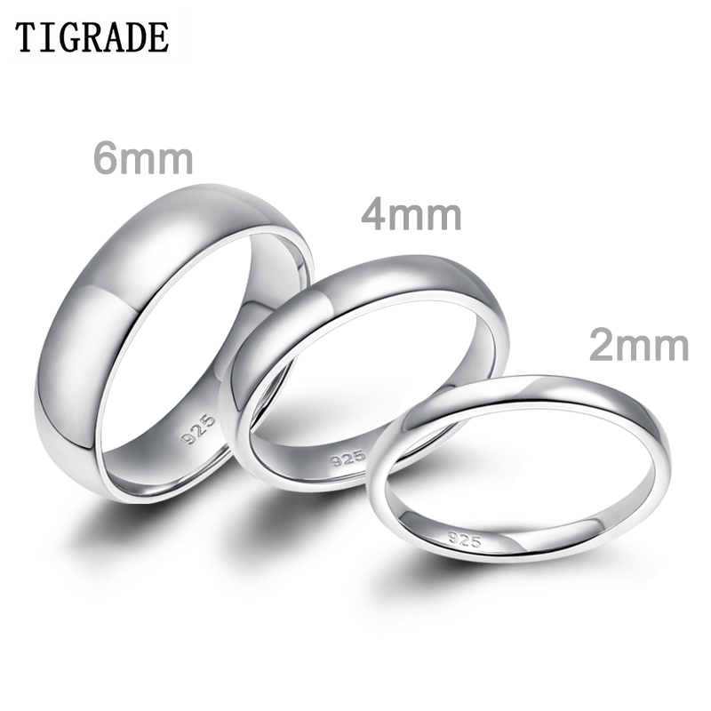 2 0 Mm Bands: 2mm 4mm 6mm Women Silver Ring High Polished Wedding Band