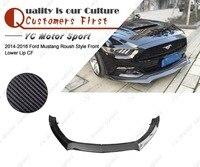Car Accessories Carbon Fiber Roush Style Front Lip Fit For 2014 2016 Mustang Front Bumper Lower Splitter Lip