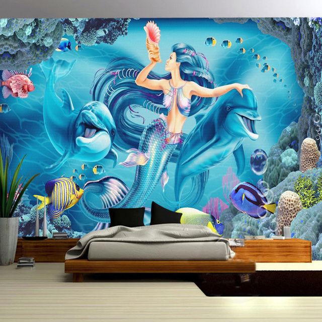 Custom Wall Mural Wallpaper Underwater World Mermaid Dolphin Wall Painting  Living Room Childrenu0027s Room Bedroom Decor