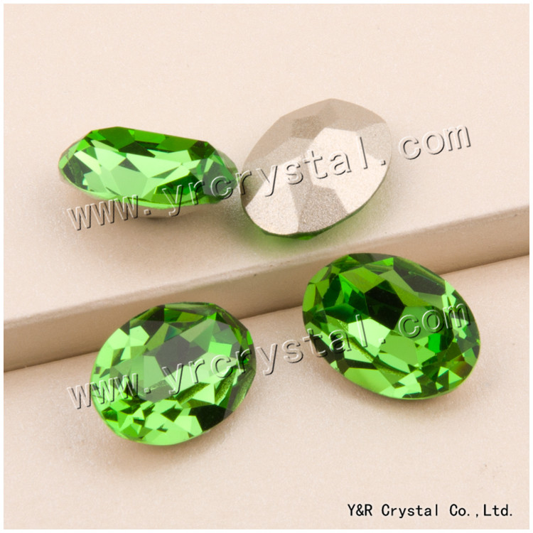 #4120 10*14mm 13*18mm 18*25mm Peridot Crystal Rhinestone Pointback Oval Shape Strass Fancy Stones For Shoes Accessories 10 18
