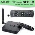2016 minix neo u1 4 k s905 iptv caixa de tv inteligente quad-core de 64 bits de streaming media player + a2 lite