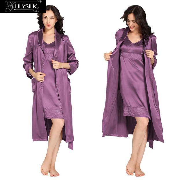 c884602847ee6 Ночные Сорочки Халат Установить 22 Momme Lilysilk Женщин Натурального Шелка  Модальные Фиолетовый Сексуальная Ночная Рубашка Длинные