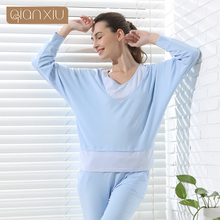 Qianxiu Brand Pijamas Women Contrast Color Home Dress  Patchwork V-neck Sleepwear Modal Cotton Pajama Set For Girl Free Shipping