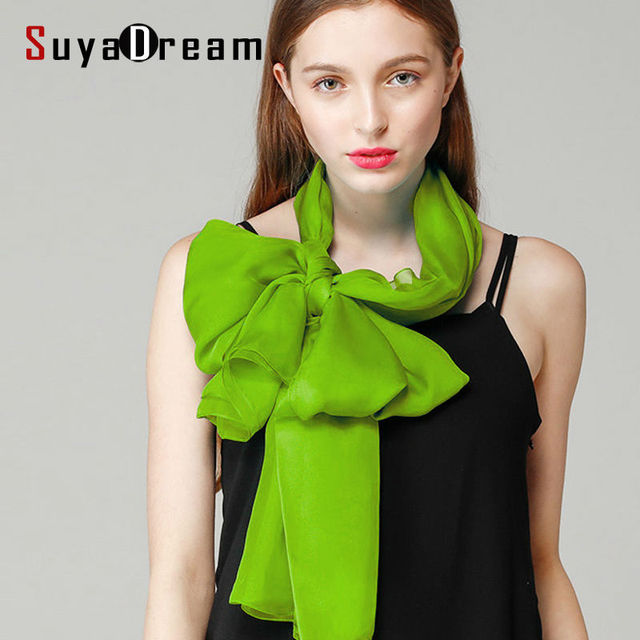 100%Real Silk women SCARVES 180cmx70cm OL Long Solid Scarf kerchief Brand Silk Georgette 2016 NEW