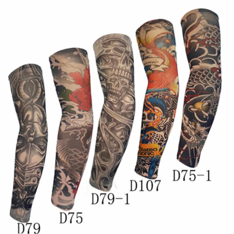 1 adet moda sahte dövme kol ısıtıcıları bisiklet kollu naylon erkekler kadınlar UV güneş koruma açık sürüş kol kollu
