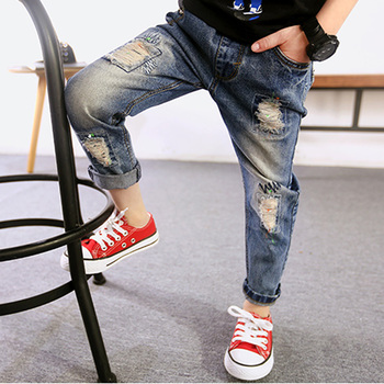 11 years old jeans for boys Kids Pants scratch Boys Kids Jeans Elastic regular solid Children Cowboy Jeans baby boys clothes remote control charging helicopter