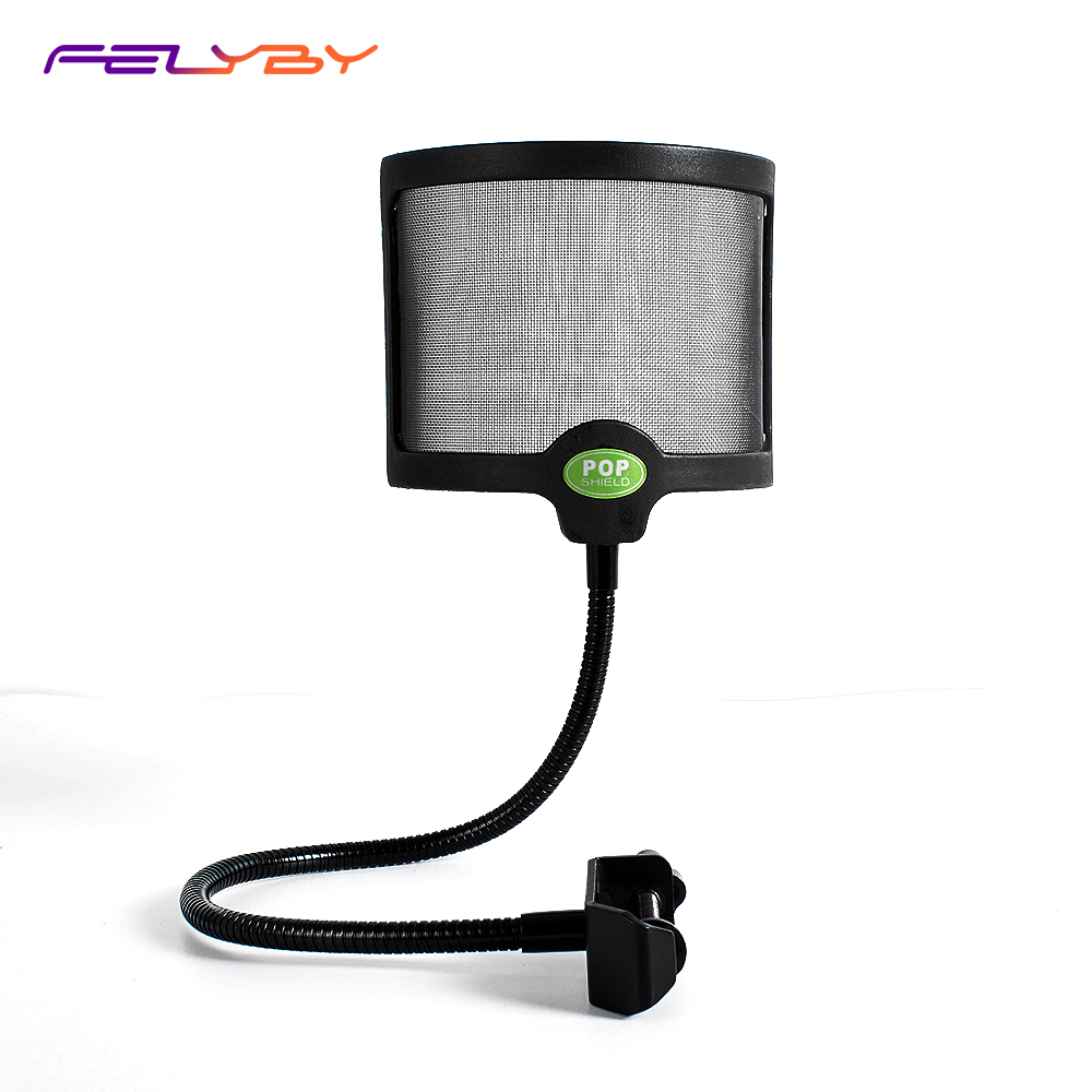 FELYBY Condenser Microphone Pop Filter Shield Windscreen Screen Universal Mic Stand Mounting Blowout Preventer Bracket