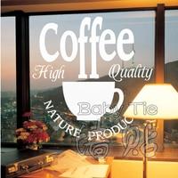 무료 배송 커피 숍 비닐 벽 데칼 커피 로고 커피 컵 벽화 예술 벽 스티커 커피 숍 바 홈 장식